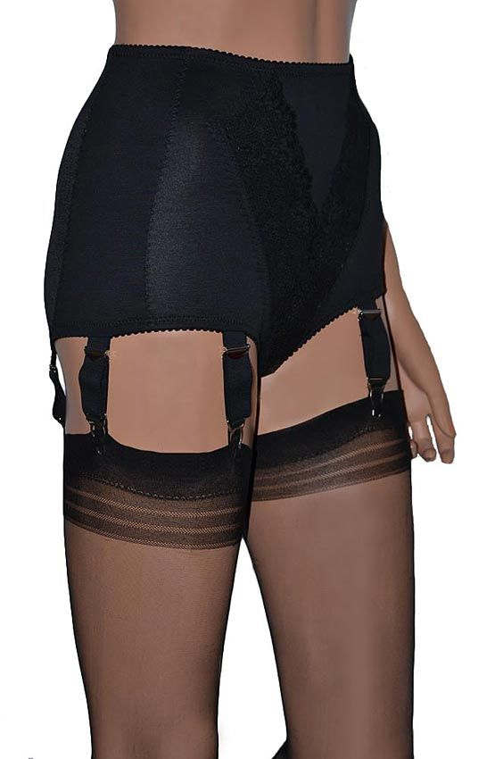 Black Vintage Style Panty Girdle with 6 Suspenders